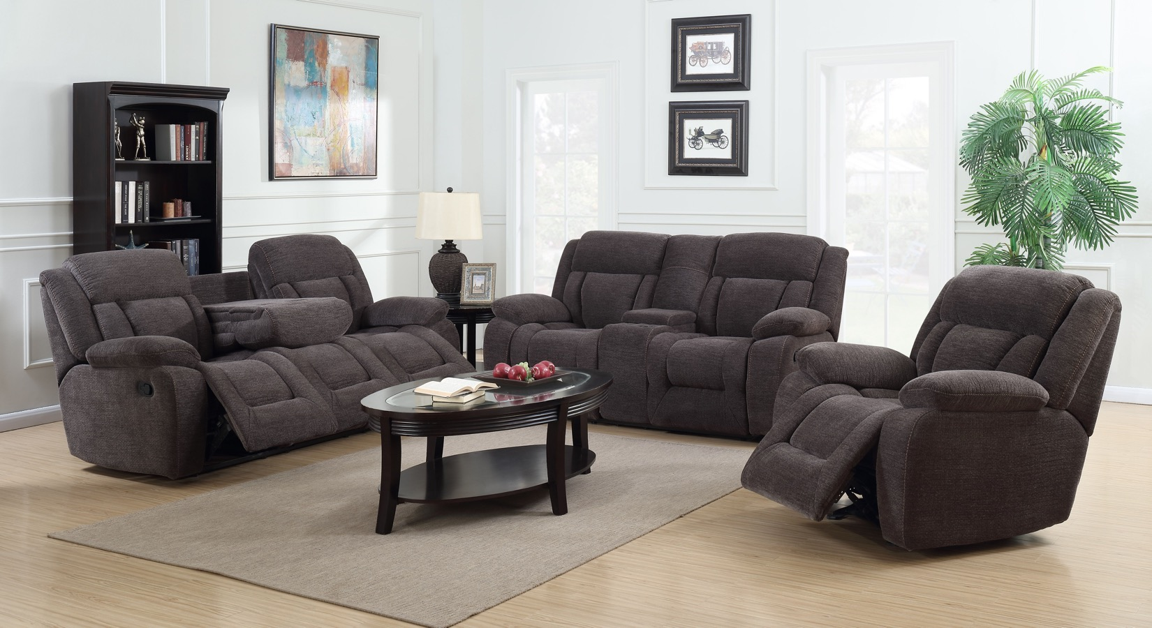 Charcoal Primo International sectional sofa with Mosaic Fabric