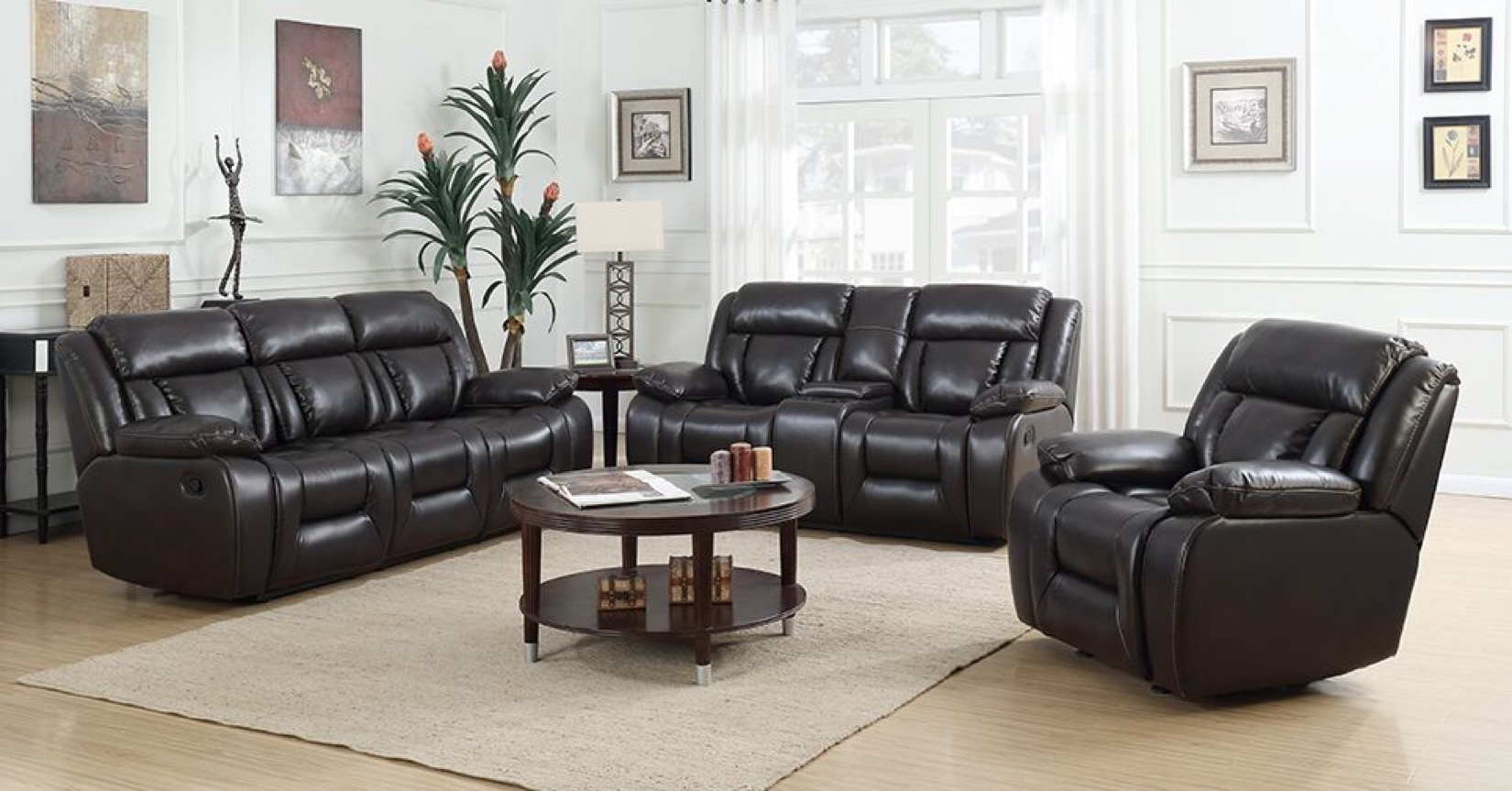 Espresso color of Primo International sectional with Mosaic Faux leather reclining sofa