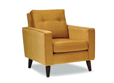 brownish yellow arm chair with wood stand