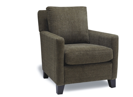 Dark Green Clark armchair with arms and short solid wood legs