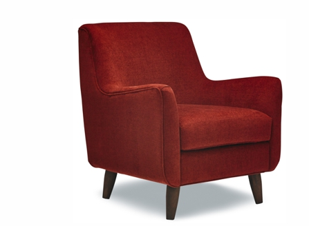 Comfy Modern Cleo Red armchair with curves arms