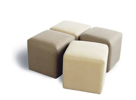 four cube sofas with two white and two beige