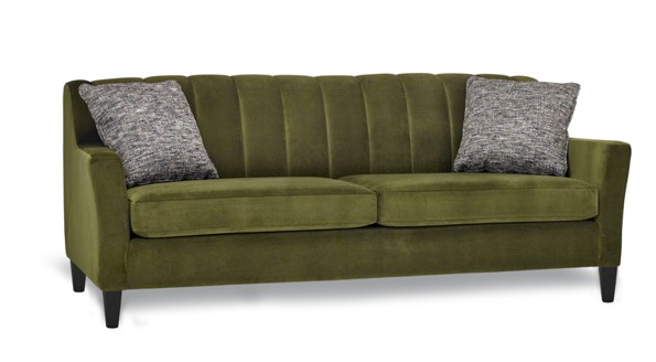 A BC Made Dark Green Deion Stylus Sofa with pillows on the both side