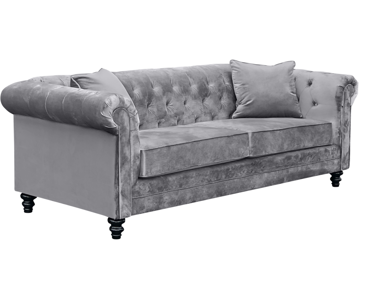 Iverson elite sofa with grey pillows.