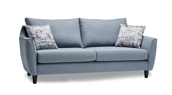 Light Blue Ivy Sofa made in BC with two pillows on the sites