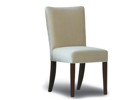 white dinning single chair with long wood stands