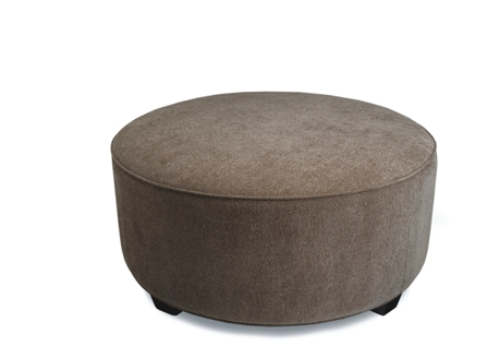 Brown Cylindrical short sofa with wood legs