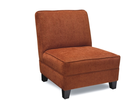 Brown red one seat low sofa