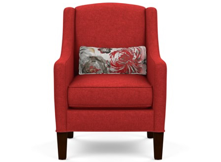 Red cotton Geno armchair with wood legs
