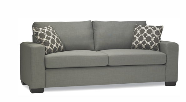 dark grey two seats sofa with handlers on both sides