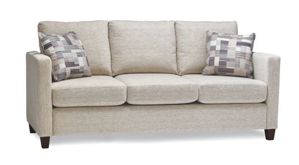 three seats beige sofa with 2 fashion modern pillows