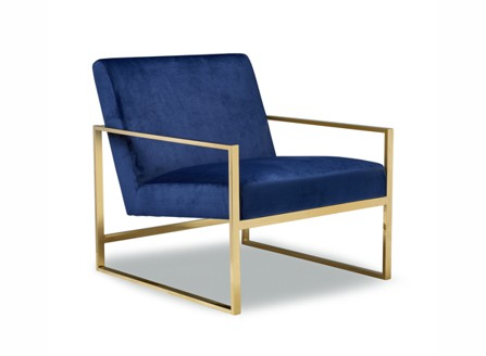 blue modern  down chair with gold square arm