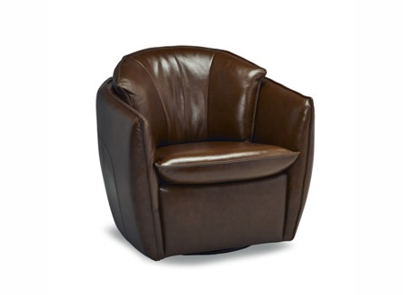 A small dark brown Carlos leather round chair