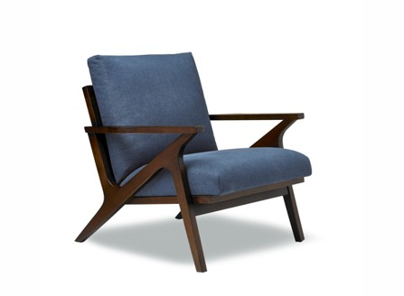 Modern blue cool chair with dark brown wooden armchair