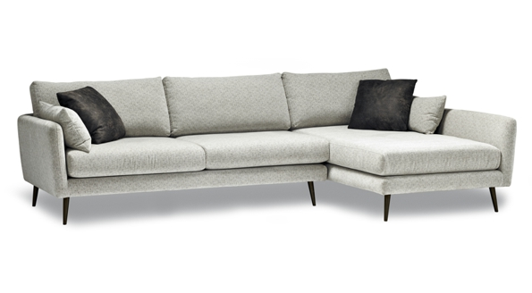 Dawsyn modern sofa section with dark wooden stands