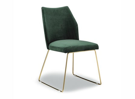 Dina green fashion chair without arm and golden stands