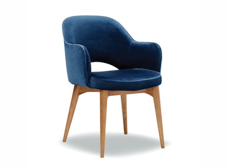 modern maya blue down armchair with hole design at the back