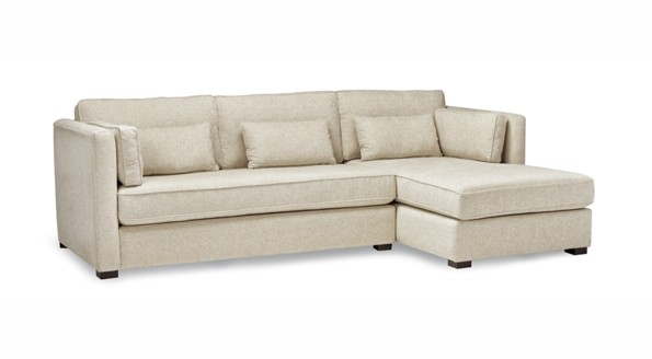 paddy sectional sofa with beige color and five pillows