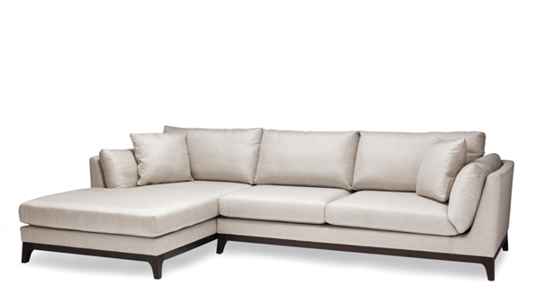 Palm leather sectional sofa with two pillows with dark wooden stands