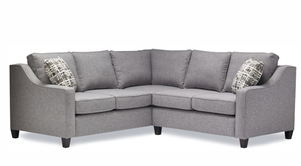 Grey pearl sectional sofa with five half seats is made in Canada