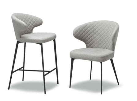 Canadian white Peru chairs with 26 inch counter chair with grid design at the back