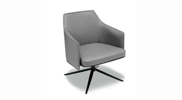 Rotatable dark grey fashion pivot armchair