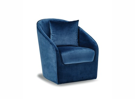 Quinn Fashion Single fabric blue armchair with no stands