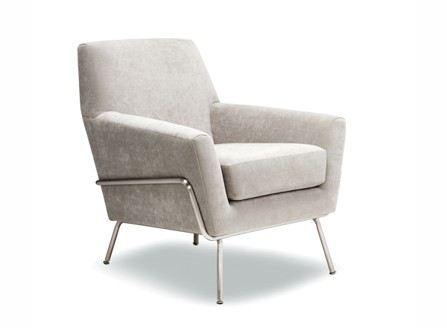White clean fabric armchair with metal stand