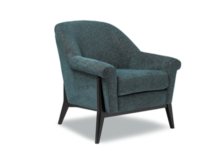 dark green one fabric seat with 4 wood stands