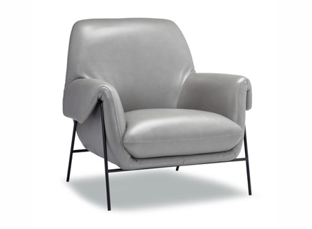 Canadian bright grey leather warsaw chair