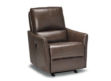 dark brown power recliner leather chair with round stand