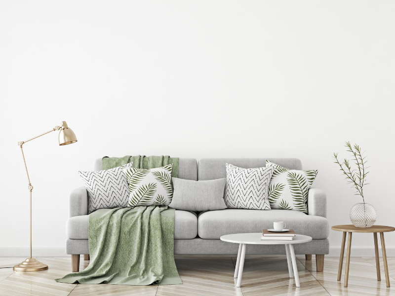 a comfy grey fabric sofa fit with small living room