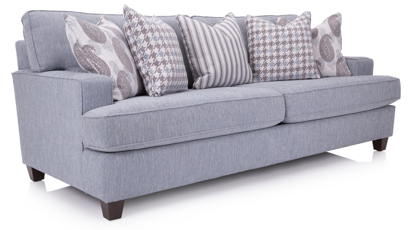 blue two seat sofa with two legs and five different textures pillows