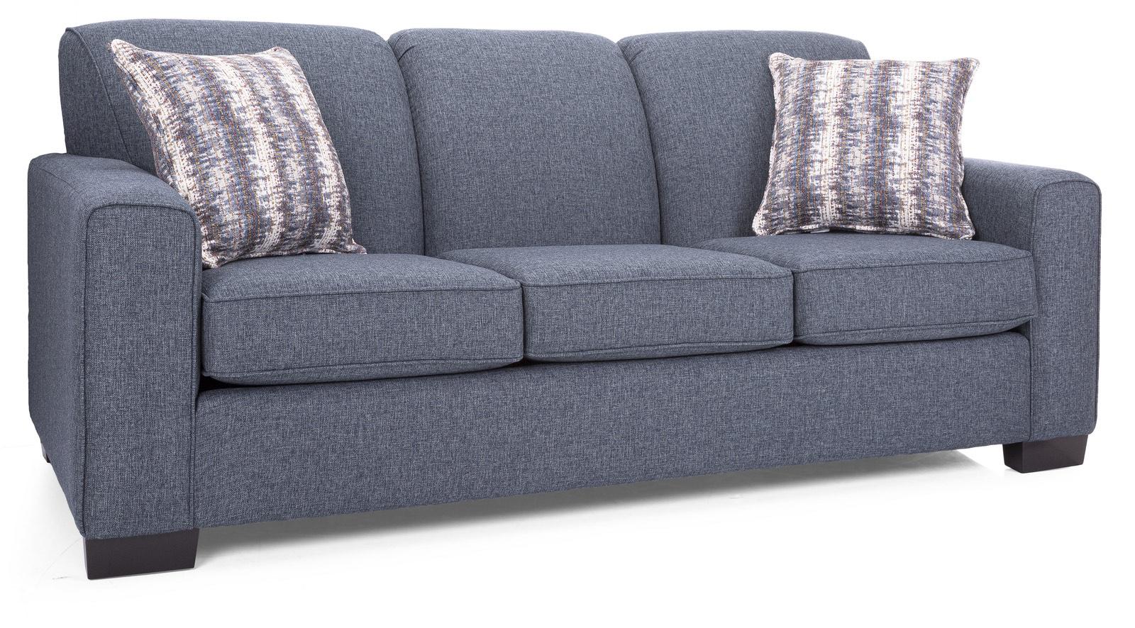 dark blue three seat sofa with hard solid wood legs