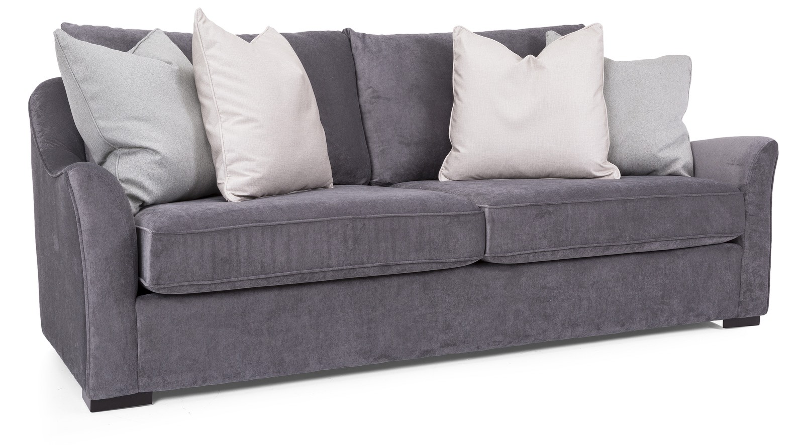 2 seat grey sofa with grey and white pillows